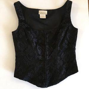 Cache vintage xs black lace bustier corset top
